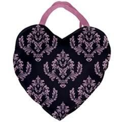 Damask Pink On Black Giant Heart Shaped Tote by TimelessFashion