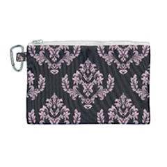 Damask Pink On Black Canvas Cosmetic Bag (large)