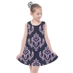 Damask Pink On Black Kids  Summer Dress by TimelessFashion