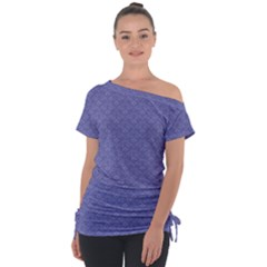 Damask In Blue Tie Up Tee by TimelessFashion