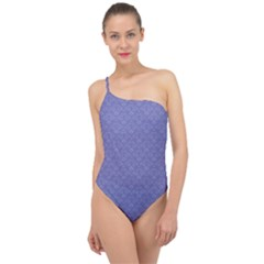 Damask In Blue Classic One Shoulder Swimsuit by TimelessFashion