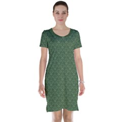 Damask In Green Short Sleeve Nightdress by TimelessFashion