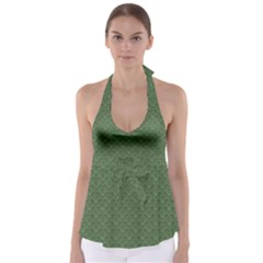 Damask In Green Babydoll Tankini Top by TimelessFashion