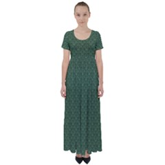 Damask In Green High Waist Short Sleeve Maxi Dress by TimelessFashion