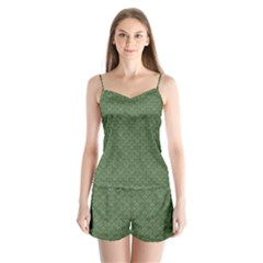 Damask In Green Satin Pajamas Set by TimelessFashion