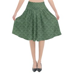 Damask In Green Flared Midi Skirt by TimelessFashion