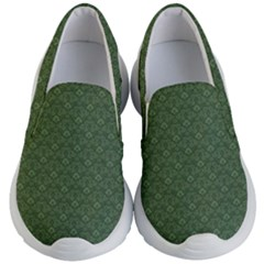 Damask In Green Kids  Lightweight Slip Ons by TimelessFashion