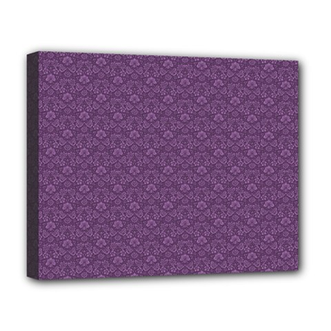 Damask In Purple Deluxe Canvas 20  X 16  (stretched) by TimelessDesigns