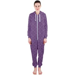 Damask In Purple Hooded Jumpsuit (ladies)  by TimelessFashion