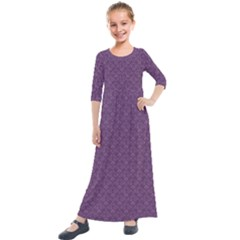 Damask In Purple Kids  Quarter Sleeve Maxi Dress by TimelessFashion