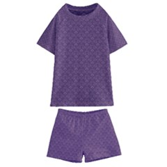 Damask In Purple Kids  Swim Tee And Shorts Set