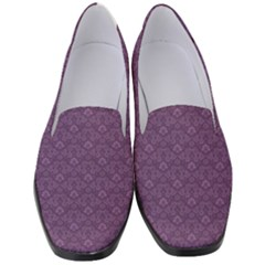 Damask In Purple Women s Classic Loafer Heels by TimelessFashion