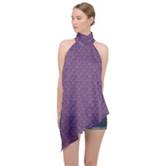 Damask In Purple Halter Asymmetric Satin Top by TimelessFashion