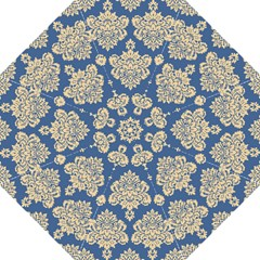 Damask Yellow On Blue Hook Handle Umbrellas (large) by TimelessFashion
