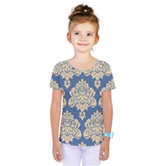Damask Yellow On Blue Kids  One Piece Tee