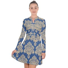 Damask Yellow On Blue Long Sleeve Panel Dress