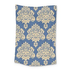Damask Yellow On Blue Small Tapestry by TimelessDesigns