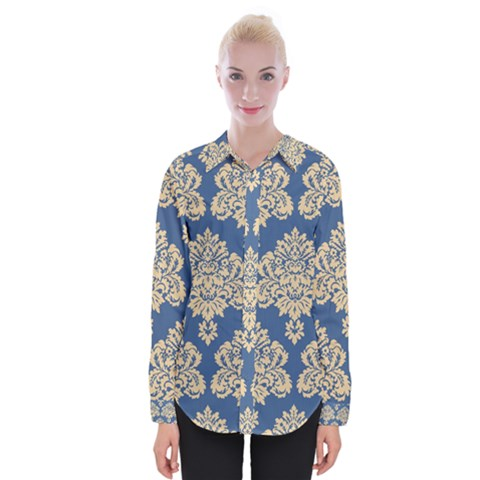 Damask Yellow On Blue Womens Long Sleeve Shirt by TimelessFashion