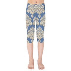 Damask Yellow On Blue Kids  Capri Leggings  by TimelessFashion