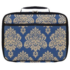 Damask Yellow On Blue Full Print Lunch Bag by TimelessFashion