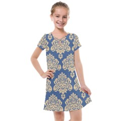 Damask Yellow On Blue Kids  Cross Web Dress by TimelessFashion