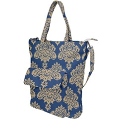 Damask Yellow On Blue Shoulder Tote Bag