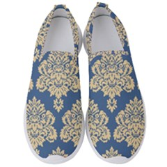 Damask Yellow On Blue Men s Slip On Sneakers by TimelessFashion