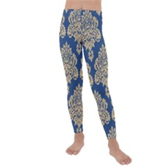 Damask Yellow On Blue Kids  Lightweight Velour Leggings by TimelessFashion