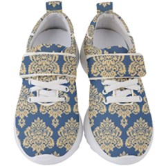 Damask Yellow On Blue Kids  Velcro Strap Shoes by TimelessFashion