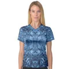 Abstract #8   Iii   Blue 6000 V Neck Sport Mesh Tee