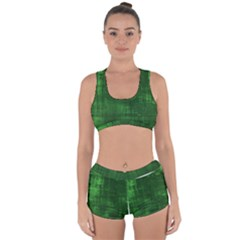 Fabric In Green Racerback Boyleg Bikini Set