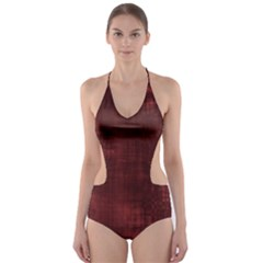 Fabric In Red Cut Out One Piece Swimsuit