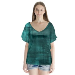 Fabric In Turquoise V Neck Flutter Sleeve Top