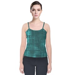 Fabric In Turquoise Velvet Spaghetti Strap Top