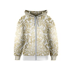 Floral Design In Gold  Kids  Zipper Hoodie