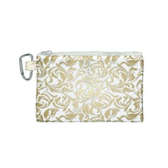 Floral Design In Gold  Canvas Cosmetic Bag (small)