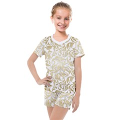 Floral Design In Gold  Kids  Mesh Tee And Shorts Set by TimelessFashion