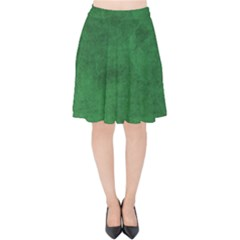 Fluffy Green Velvet High Waist Skirt