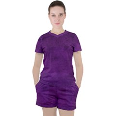 Fluffy Purple Women s Tee And Shorts Set by FEMCreations