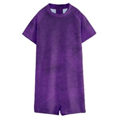Fluffy Purple Kids  Boyleg Half Suit Swimwear
