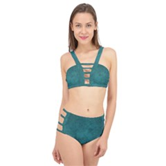 Fluffy Turquoise Cage Up Bikini Set