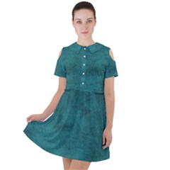 Fluffy Turquoise Short Sleeve Shoulder Cut Out Dress