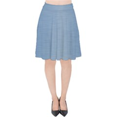 Metallic Blue Velvet High Waist Skirt by TimelessFashion
