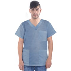 Metallic Blue Men s V Neck Scrub Top