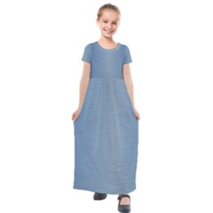 Metallic Blue Kids  Short Sleeve Maxi Dress by TimelessFashion