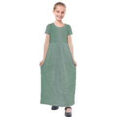 Metallic Green Kids  Short Sleeve Maxi Dress by TimelessFashion