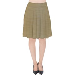 Metallic Yellow Velvet High Waist Skirt by TimelessFashion
