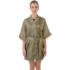 Metallic Yellow Quarter Sleeve Kimono Robe by TimelessFashion