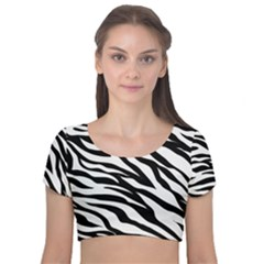 Zebra Prin Velvet Short Sleeve Crop Top
