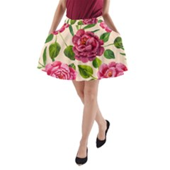 Kellytvgear Pink Flower A Line Pocket Skirt by Kellytvgear